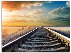 Glasunterlage Bahnschienen ins Ungewisse – Bild 1