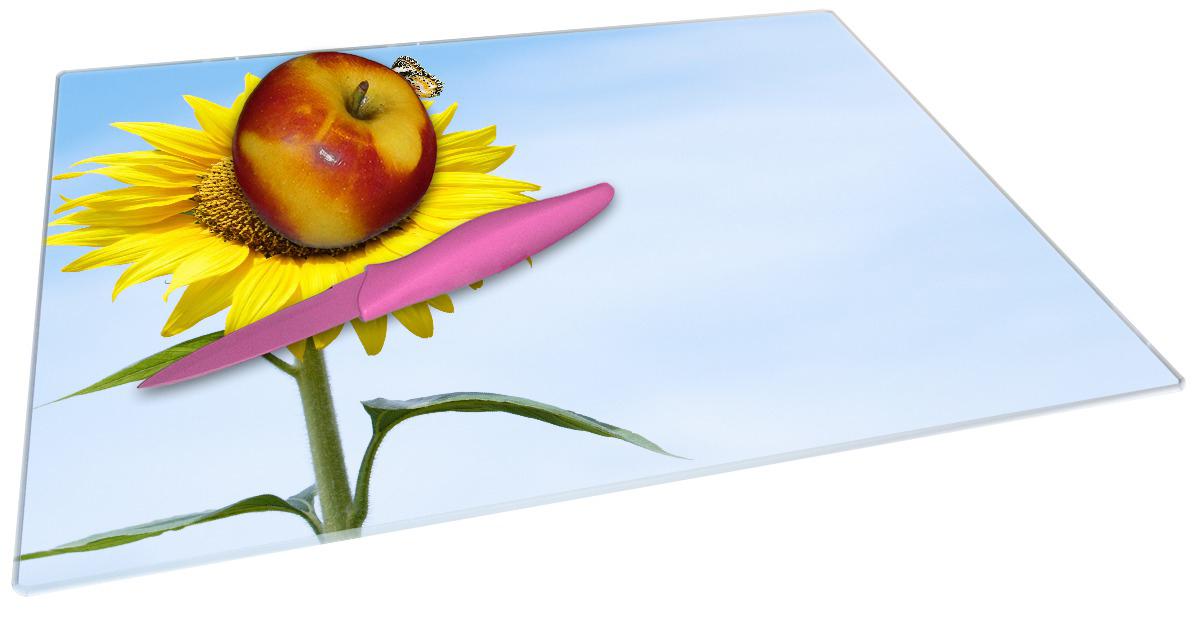 Glasunterlage Sonnenblume mit Schmetterling – Bild 2
