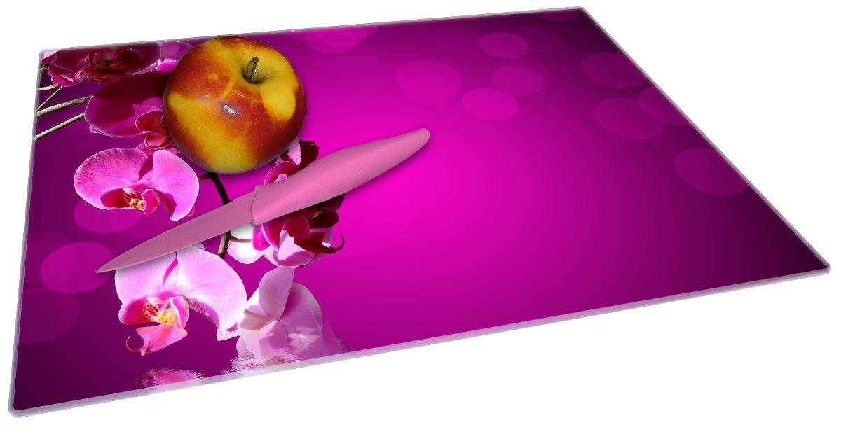 Glasunterlage Rosafarbene Orchidee  Blüten in pink – Bild 2