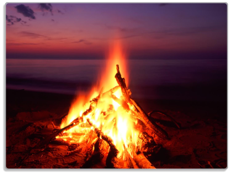 Glasunterlage Lagerfeuer am Strand – Bild 1