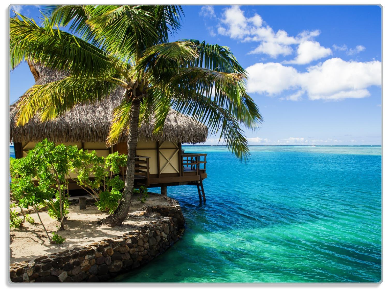 Glasunterlage Karibisches Meer – Einsame Hütte unter Palmen – Bild 1
