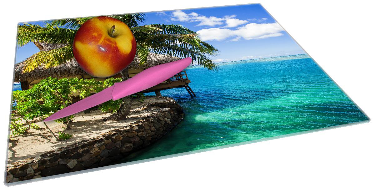 Glasunterlage Karibisches Meer – Einsame Hütte unter Palmen – Bild 2