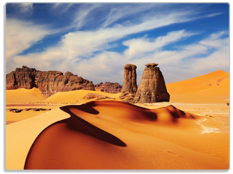 Glasunterlage Felsen und Sand in der Sahara Wüste – Bild 1