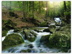 Glasunterlage Fließender Bach im Wald bei Sonnenuntergang – Bild 1