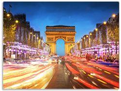 Glasunterlage Arc de triomphe in Paris bei Nacht – Bild 1
