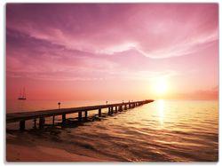 Glasunterlage Auf dem Weg zur Sonne  Steg am Meer – Bild 1