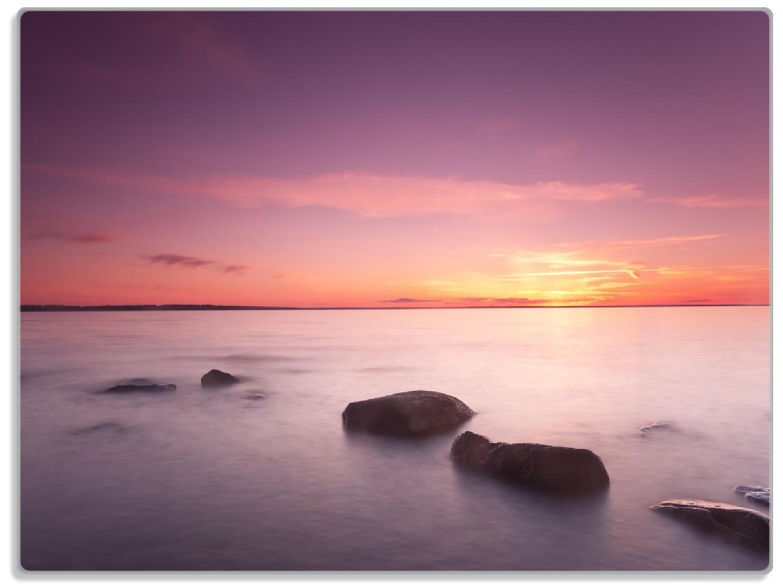 Glasunterlage Nebel am See bei Sonnenuntergang – Bild 1