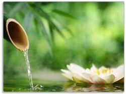 Glasunterlage Seerosen und Bambus auf dem Wasser – Bild 1