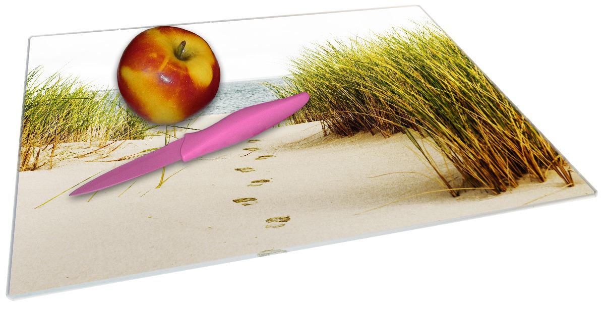 Glasunterlage Spuren im Sand- Fußspuren durch die Düne zum Meer – Bild 2