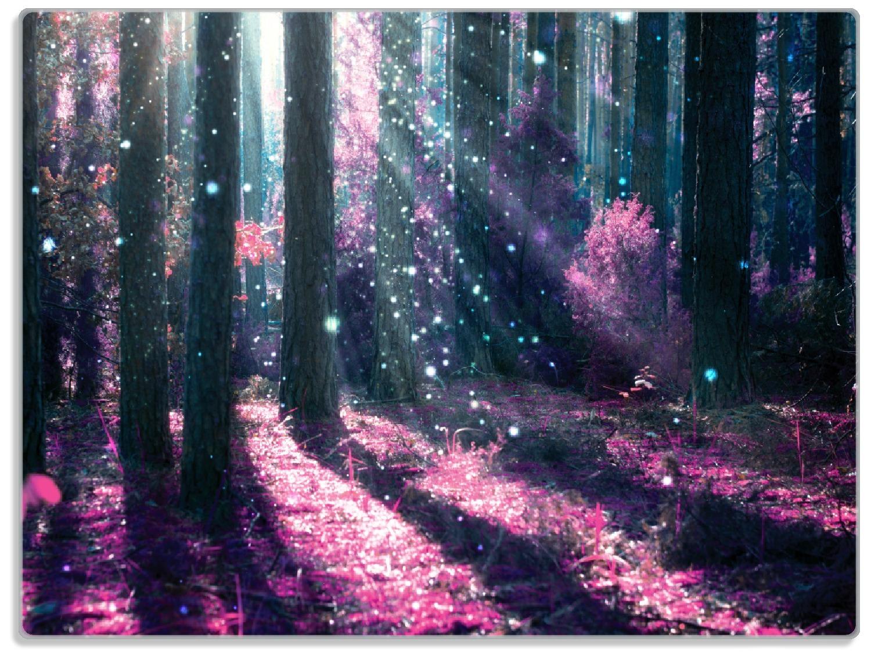 Glasunterlage Fantasie im Wald - Pinke Blumen in der Sonne – Bild 1