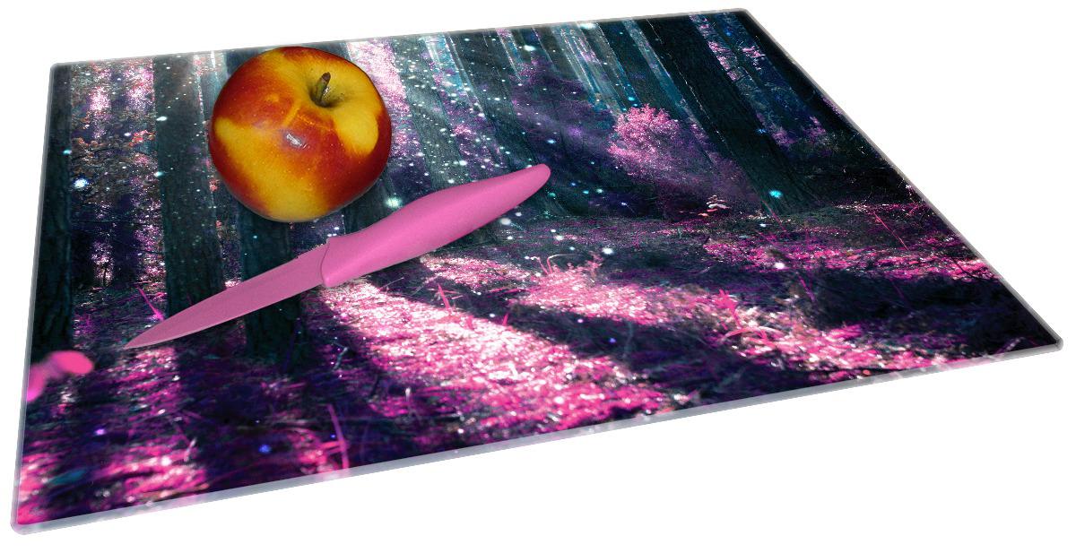 Glasunterlage Fantasie im Wald - Pinke Blumen in der Sonne – Bild 2