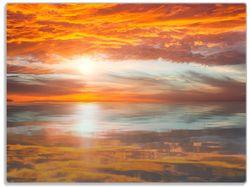 Glasunterlage Abendrot in Reflexion über dem See – Bild 1