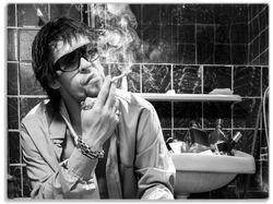 Glasunterlage Kloparty - Sexy Mann auf Toilette mit Zigarette SW – Bild 1