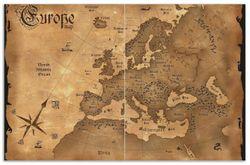 Herdabdeckplatte Alte Weltkarte   Karte von Europa in englisch
