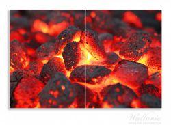 Herdabdeckplatte Glühende Kohlen im Kamin