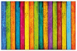 Herdabdeckplatte Buntes Holz - bunte Streifen mit Farbe und Holzstruktur – Bild 1