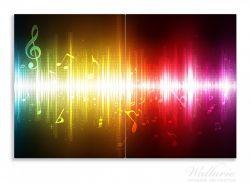 Herdabdeckplatte Blau-gelbe Noten der Musik