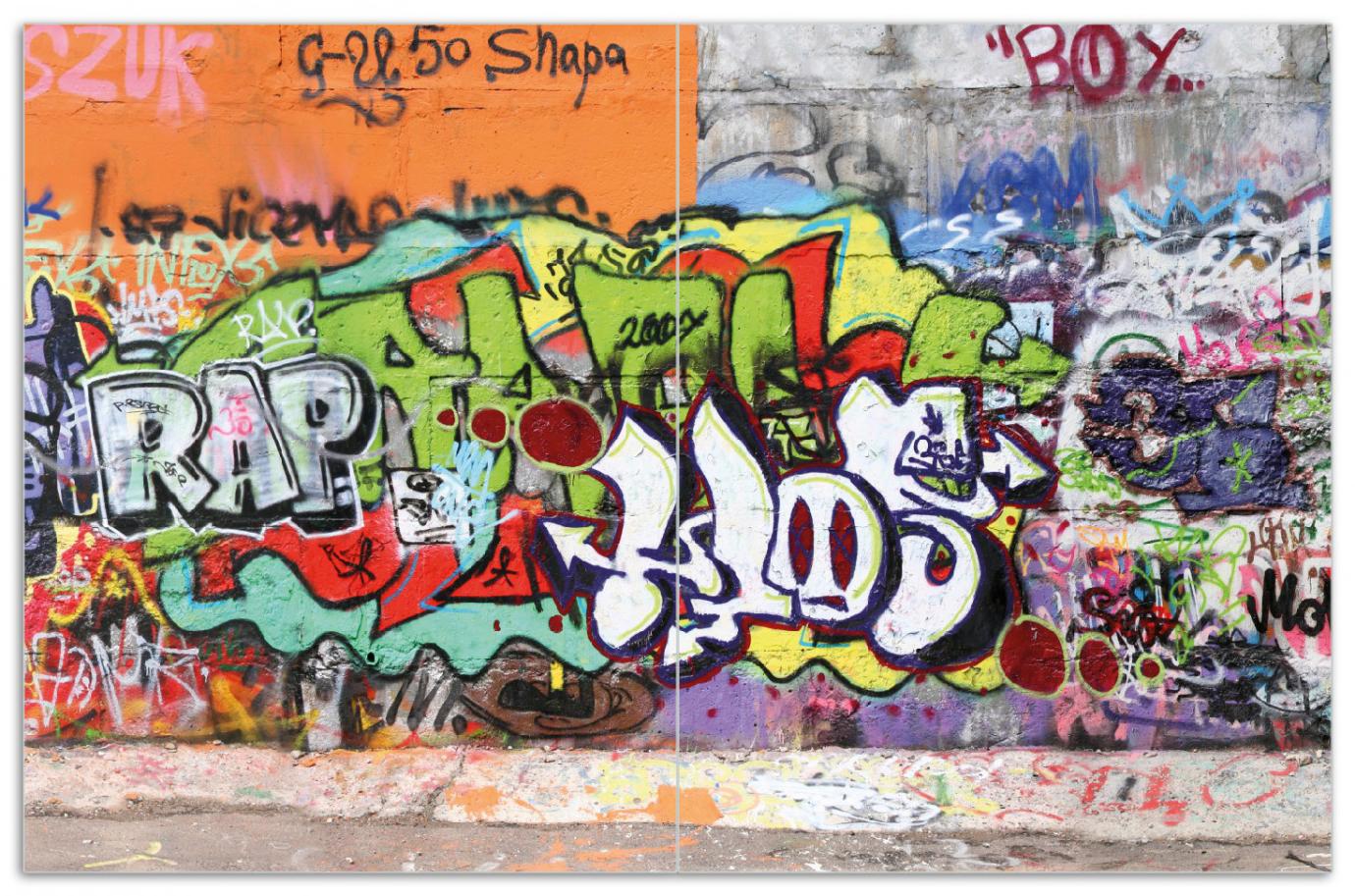 Herdabdeckplatte RAP-Graffiti- Wand mit verschiedenen Tags – Bild 1