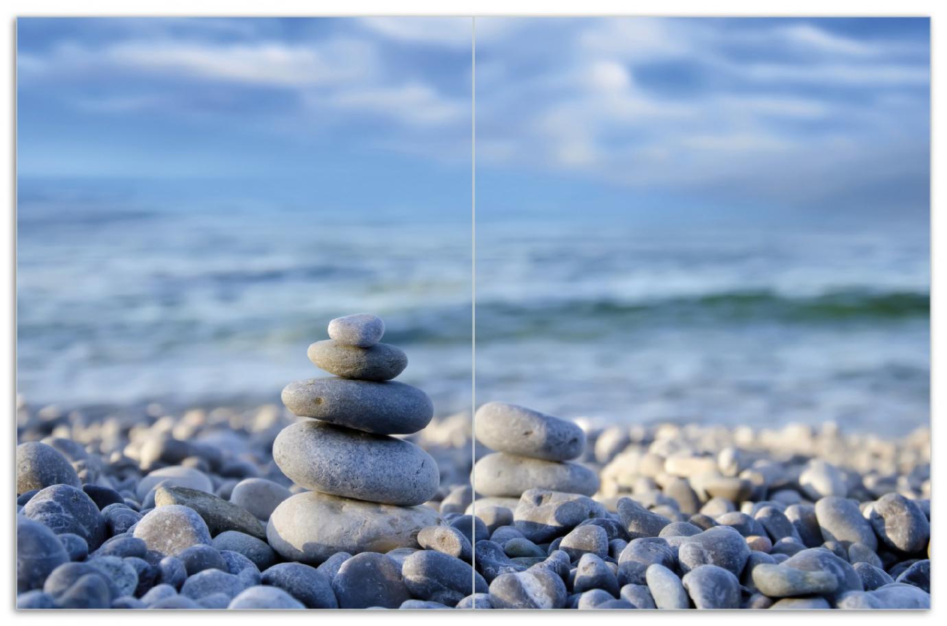 Herdabdeckplatte Steinstapel am Strand – Bild 1