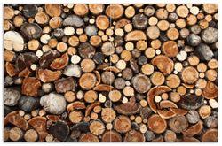 Herdabdeckplatte Dunkler Holzstapel rund – Bild 1