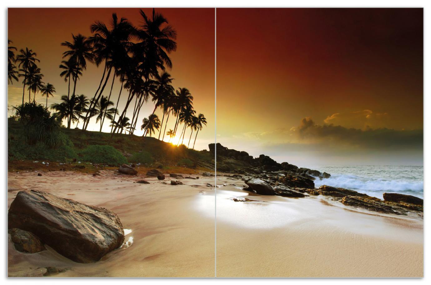 Herdabdeckplatte Sri Lanka - Palmenstrand mit Sonnenuntergang – Bild 1