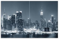 Herdabdeckplatte New York Skyline - Schwarz Weiß Blau – Bild 1