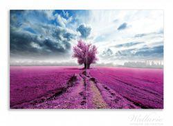 Herdabdeckplatte Surreales Blumenfeld  lila Blumen auf dem Feld