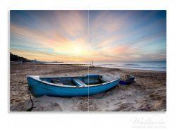 Herdabdeckplatte Fischerboot am Strand bei Sonnenuntergang