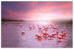 Herdabdeckplatte Rosa Flamingos bei Sonnenuntergang – Bild 1