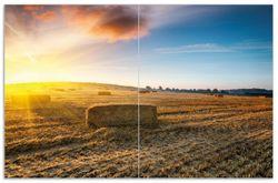 Herdabdeckplatte Stroh auf dem Feld bei untergehender Sonne – Bild 1