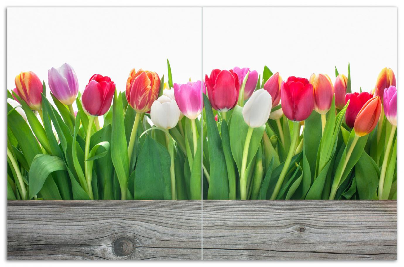 Herdabdeckplatte Rote  weiße und pinke Tulpen im Frühling – Bild 1