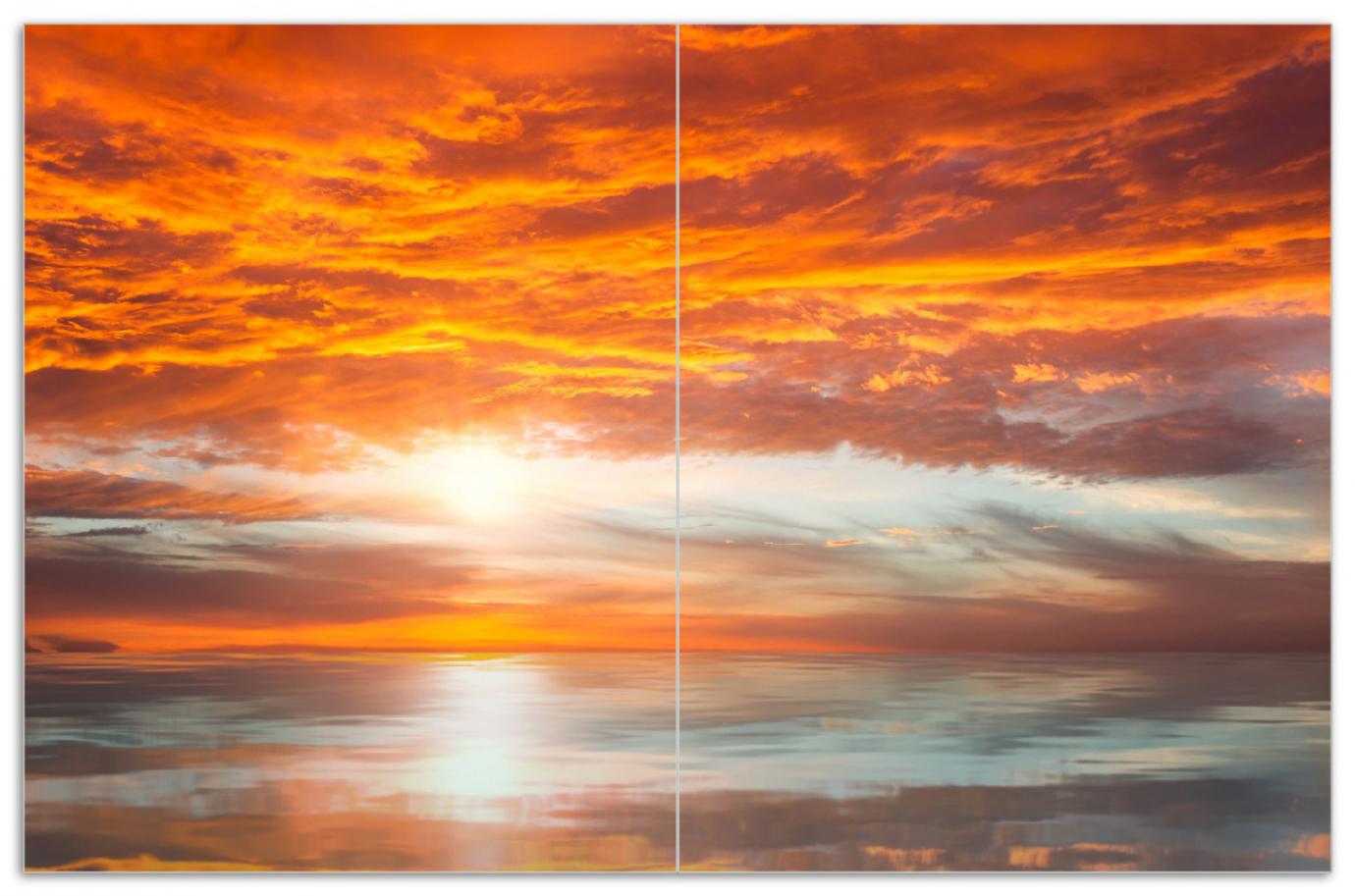 Herdabdeckplatte Abendrot in Reflexion über dem See – Bild 1