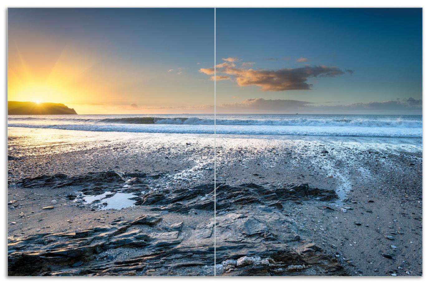 Herdabdeckplatte Einsamer Strand in Cornwall  England – Bild 1