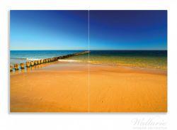 Herdabdeckplatte Sandstrand in orange - Blaues Meer - Blauer Himmel