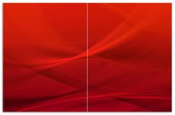 Herdabdeckplatte Abstrakte rotes Muster - roter Stoff – Bild 1