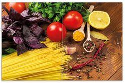 Herdabdeckplatte Italienisches Menü mit Spaghetti, Tomaten, Basilikum und Gewürzen – Bild 1