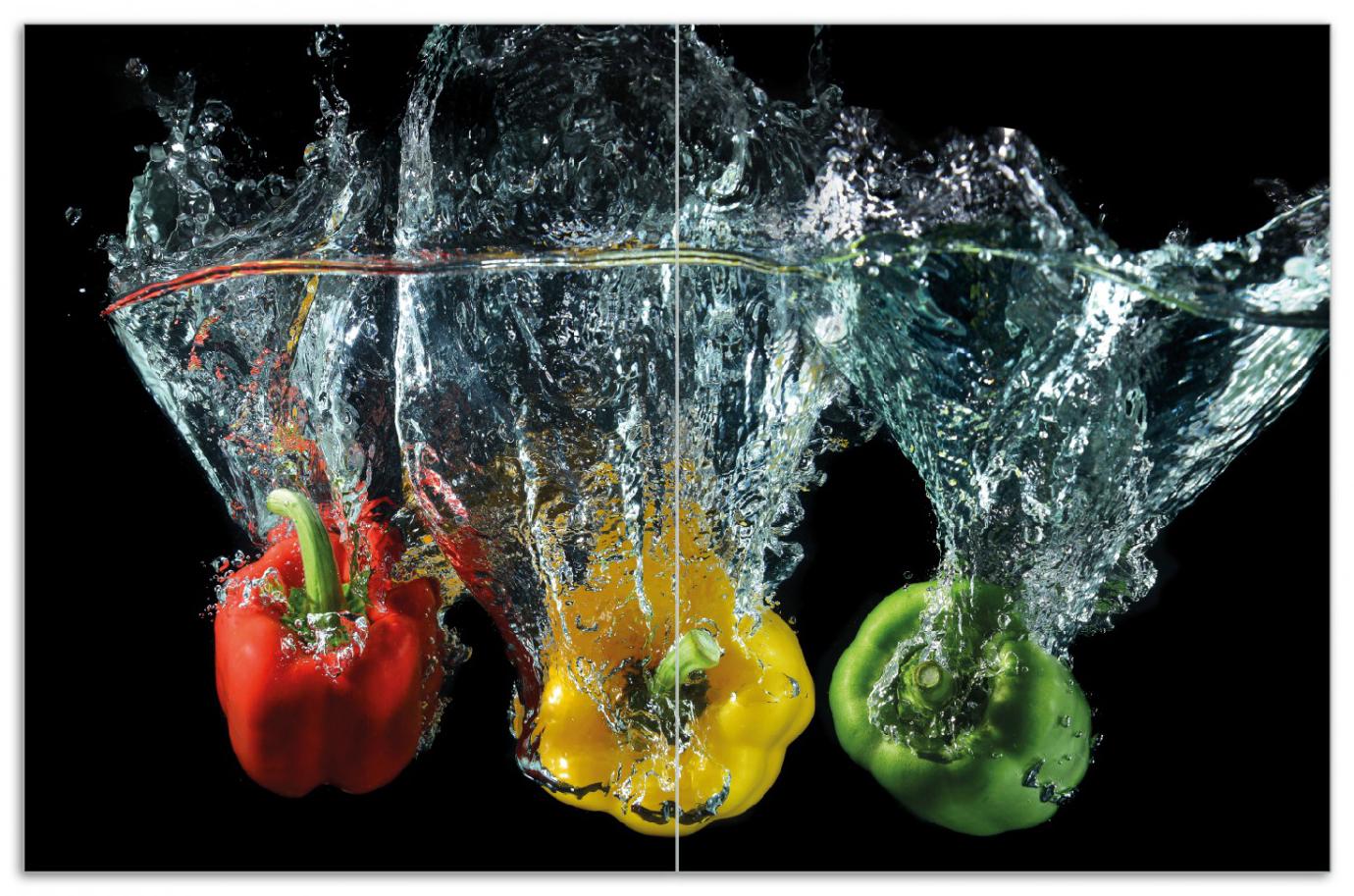 Herdabdeckplatte Paprika-Mix - frische Paprika in rot, gelb und grün im Wasser – Bild 1