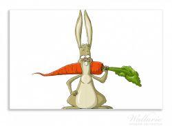 Herdabdeckplatte Lustiger Hase mit Möhre im Comic Stil