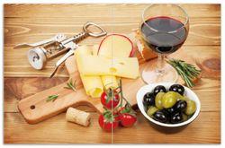 Herdabdeckplatte Genuss am Abend - Rotwein, Käseplatte, Oliven und Tomaten – Bild 1