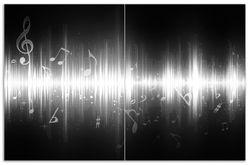 Herdabdeckplatte Noten der Musik in schwarz und weiß – Bild 1