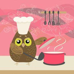 Möbelfolie Lustige Eule beim Kochen mit Kochmütze – Bild 3