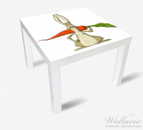 Möbelfolie Lustiger Hase mit Möhre im Comic Stil – Bild 1