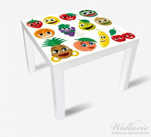 Möbelfolie Obst-Smilies im Comic-Stil - Lustige Erdbeeren, Bananen, Kirschen etc. – Bild 2