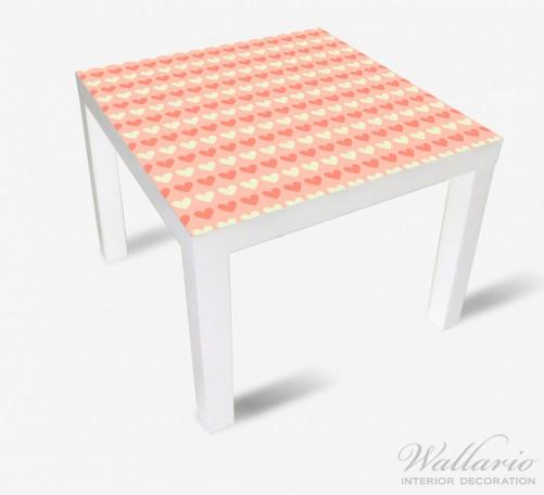 Möbelfolie Muster Herzen in beige und rot  – Bild 2