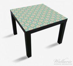 Möbelfolie Muster in rot weiß auf grün - Blütenblätter – Bild 1
