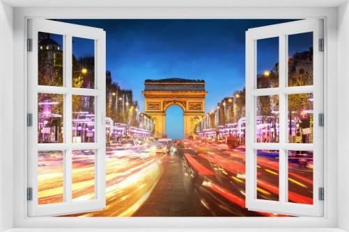 Acrylglasbild Arc de triomphe in Paris bei Nacht