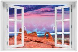 Acrylglasbild Farbenfrohes Naturdenkmal - Steinbogen im Nationalpark Arches