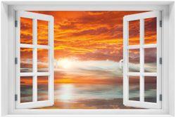Acrylglasbild Abendrot in Reflexion über dem See