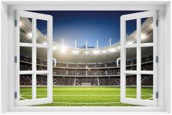 Acrylglasbild Fußballstadion Mittellinie
