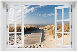 Acrylglasbild Auf dem Holzweg zum Strand